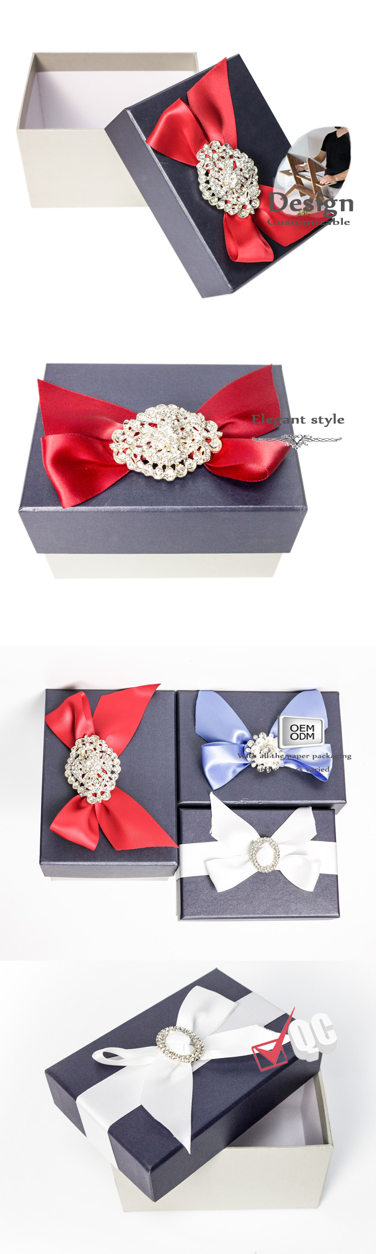 Paper candy gift box with bowknot