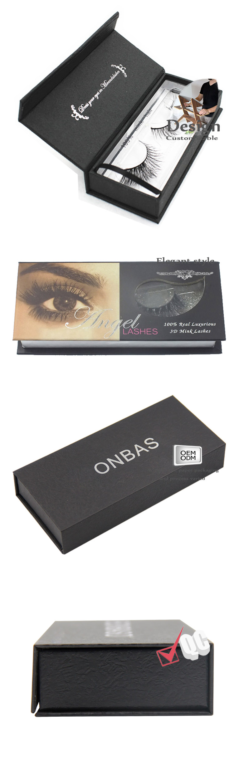 Eyelash box with pvc windows